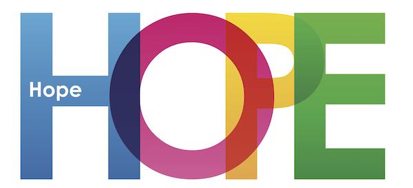 HOPE - multicoloured letters